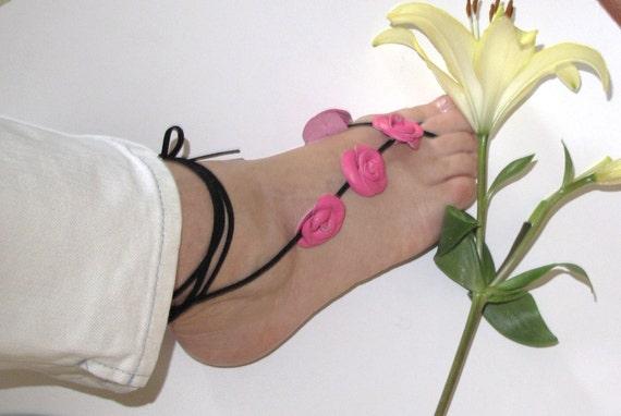 Wedding barefoot sandal- Flowers Barefoot Sandals-Pink Leather Rose barefoot ,flower  Anklet- sexy  barefoot sandles