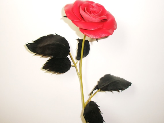 Red Leather Rose, Wedding 3rd Anniversary Gift Long Stem Flower ...