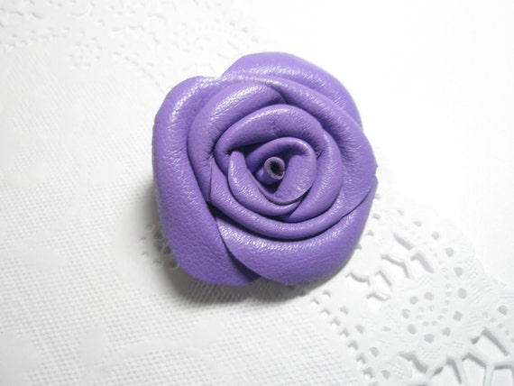 Flower Hair-Clip Headband Brooch -Violet Leather Flower Rose Brooch, Pin, Clip ,Pendant  Wedding,Proms,Celebration,Friendly Gift