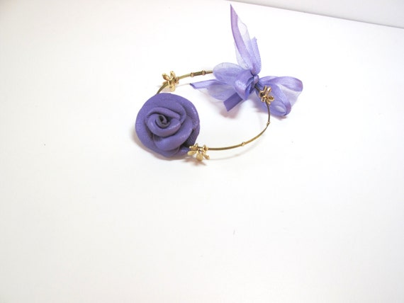 Purple  Leather Rose and  Bow Flower Bracelet Free Worldwide shipping