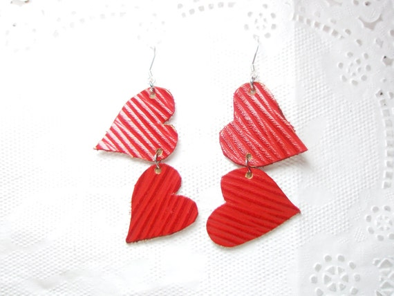 Red Leather Heart Earrings with 925 sterling hoops