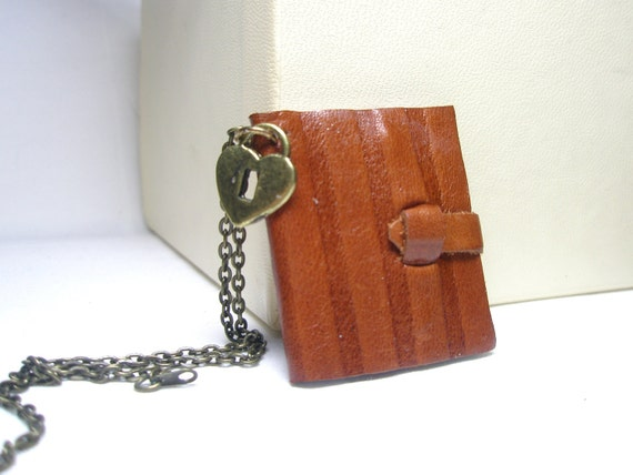 Only today SALE Mini Leather Journal Necklace and free charm
