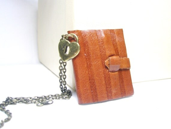 Miniature Leather Journal Necklace