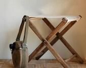 Vintage Rustic Wood Camping Stool