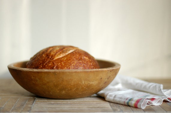 Vintage Dough Bowl, Bread Bowl, Wooden Bowl