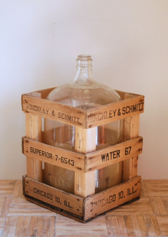 Vintage Glass Carboy with Wooden Crate