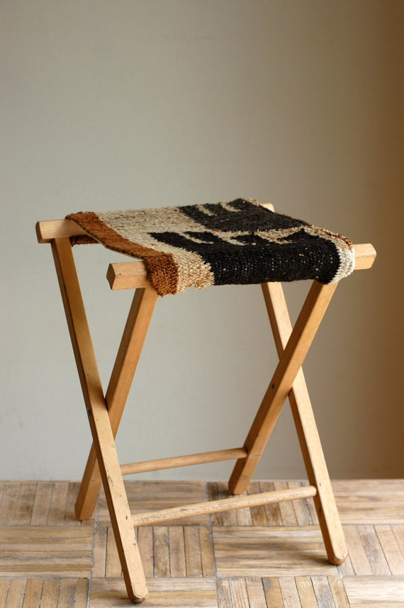 Reserved Vintage Rustic Wood Camping Stool With Handwoven Rug