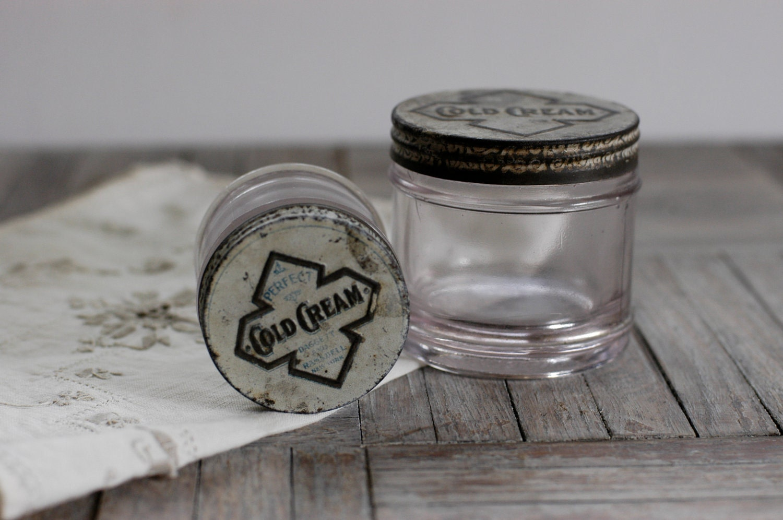 Vintage Cold Cream Jars Set Of 2