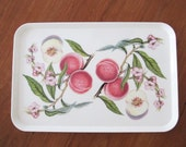 Peaches and Peach Blossoms Serving Tray : 80's Kitchen