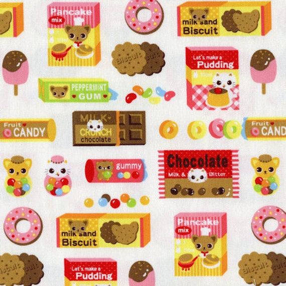 FQ Donuts Candy Biscuit Animals White Lightweight Canvas Fabric