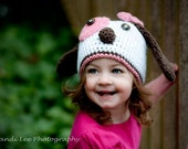 Girl Crochet Puppy Dog Hat with a Bow- Made to Order- Newborn-5T- White, Pink, Brown