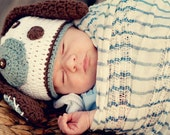 Baby Boy Crochet PUPPY DOG HAT- Made to Order- Newborn-5T- White, Brown, and Light Blue