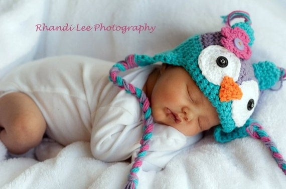 Baby Girl Crochet Owl Hat with Flower- Made to Order- Newborn-5T-  Teal, Purple, Pink