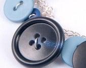 Blue Jeans - Blue Button Bracelet - FREE SHIPPING