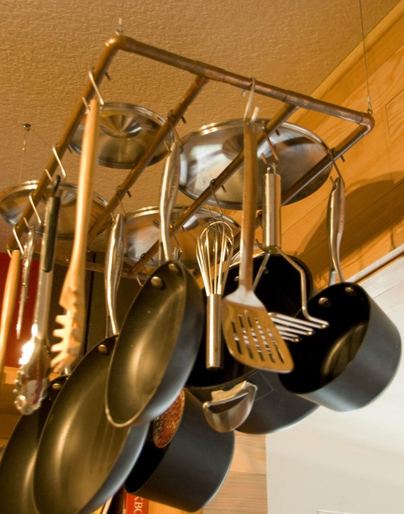 Items similar to reclaimed brushed copper pot rack on etsy for Reclaimed wood pot rack