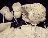 Award Winning Stunning White Shell Crocheted Christening/Blessing Gown, Bonnett and Slipper Set