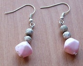 Pink and Silver Beaded Earrings