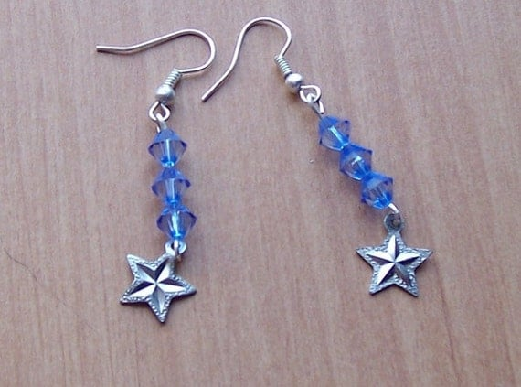 Star Earrings with Blue Bicones