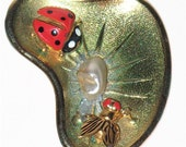 Vintage Salvador Dali Inspired Surreal Fly & Ladybug Pin