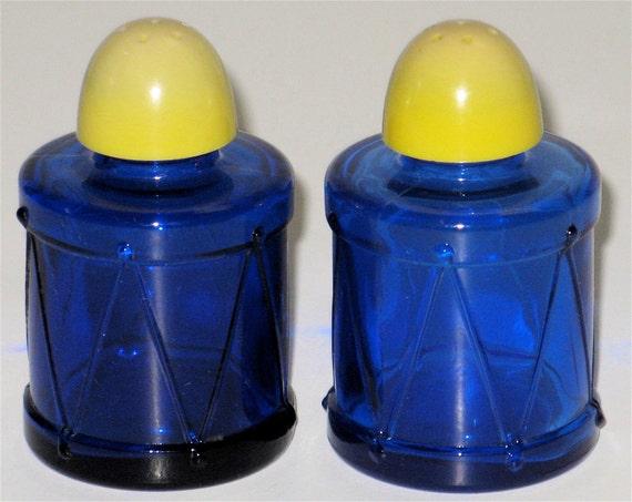 Vintage Cobalt Glass Drum Salt & Pepper Shaker Set