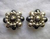 Vintage Metallic Cluster Bead Earrings