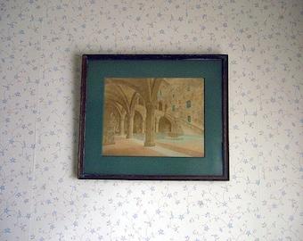 Rare Early 20th Century Original Watercolor - Palazzo del Bargello - Classical Italian Architecture
