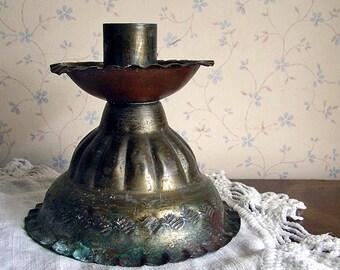 Vintage Incised Tin Chamberstick Holder