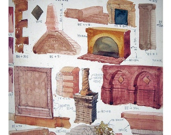 Vintage Original Watercolor Painting Study - Architectural Elements and Stonework, No.3