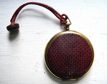 Vintage Brass and Red Leather Compact Case