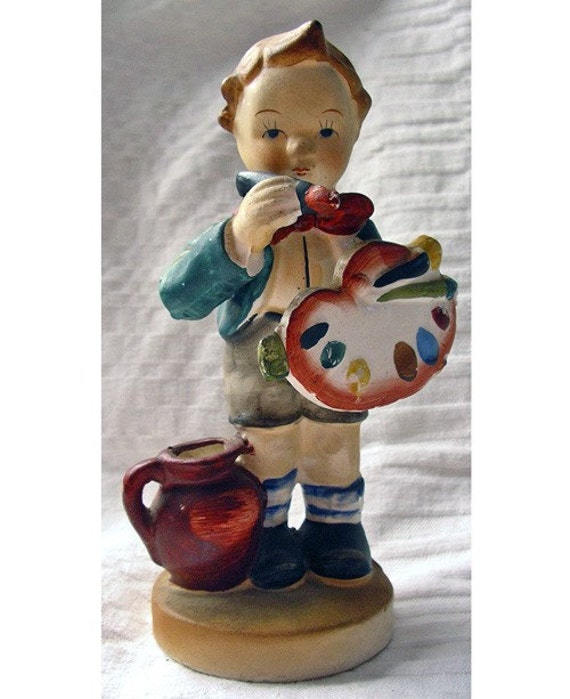 Vintage Nippon Yoko Boeki Japanese Porcelain - Boy with Paint Palette