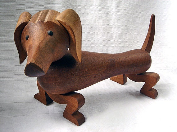 RESERVED - Vintage Kay Bojesen Wooden Dachshund with Movable Limbs