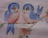 Darling Vintage Baby Crib Blanket, Buggy, Embroidered Bluebirds, Lace, Tinted