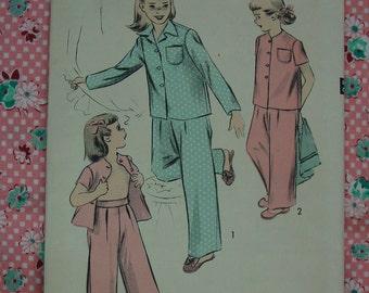 Vintage Pattern 1950's Advance No.4183 Girls Pajamas Size 8 Uncut