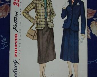 Vintage Pattern 1951 Simplicity No.3673 Suit Jacket,Gored Skirt Sz.16, Uncut
