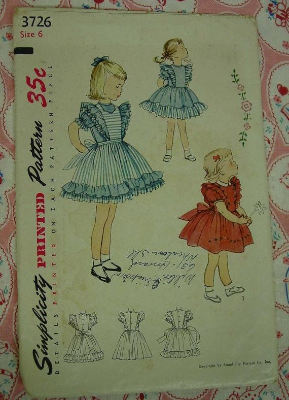 Vintage Pattern 1950's Simplicity No.3726 Childs Pinafore Dress Sz.6