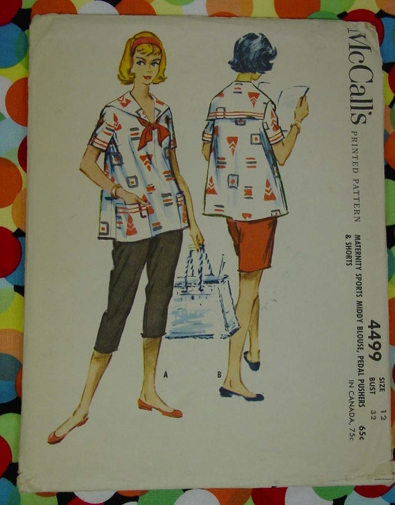 Vintage Pattern 1958 McCall's No.4499 Maternity Middy Blouse,Pedal Pushers