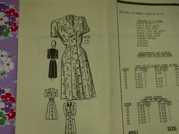 Vintage Pattern 1950's Anne Adams Mail Order Dress Sz.36 Uncut