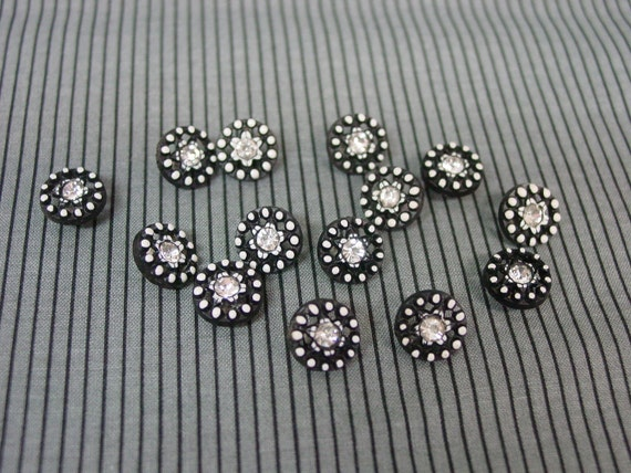"Set of 14 Cute 1/2"" Vintage Buttons, Black Plastic,Polka Dots and Rhinestones"