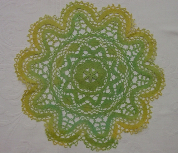 "Hand Dyed,Tinted Crocheted Doily, 14 1/2"" Soft Greens,Yellows OOAK"
