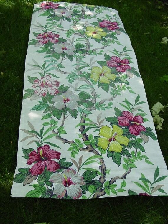 "Vintage Barkcloth Fabric Drapery Panel, Big Floral 78 x 32"""