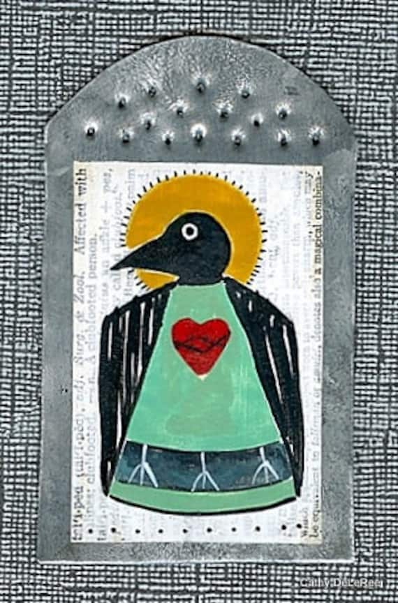 Raven / Crow Saint - MilagrO  -  Folk Art Original Painting