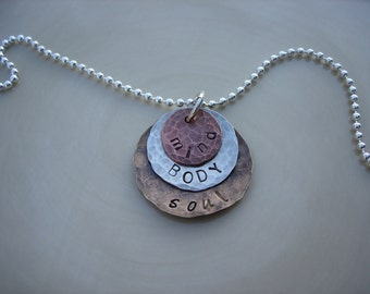 NEW YEAR New You Mind. Bosy. Soul Triple Stacked Mixed Metal Hand STamped Necklace