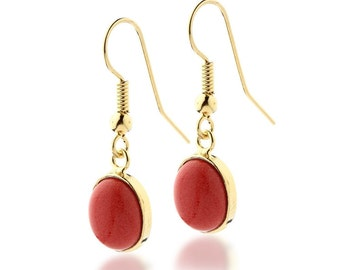 RED CORAL EARRINGS Gold Vermeil 18k , Minimalist Modern Dangle earrings , Red and Gold Jewelry