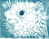Balloonfish Etching (page from handmade book)