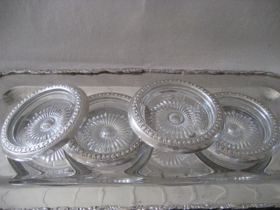 ANTIQUE Set of Four  Glass & Sterling Coasters   Marked STC
