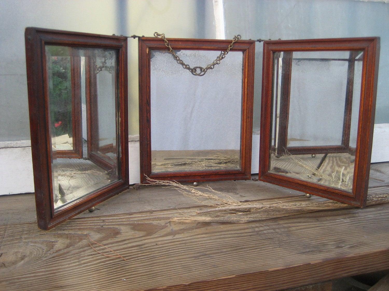 Antique Three Way/Tri Fold Shaving Vanity Mirror
