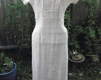 Truly scrumptious sheer pink  victorian style maxi dress with lace detail made in the sixties, size: small