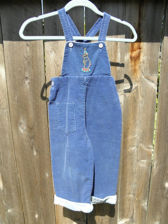 1950's Circus Bear overalls for your vintage toddler. 18 to 24 months.