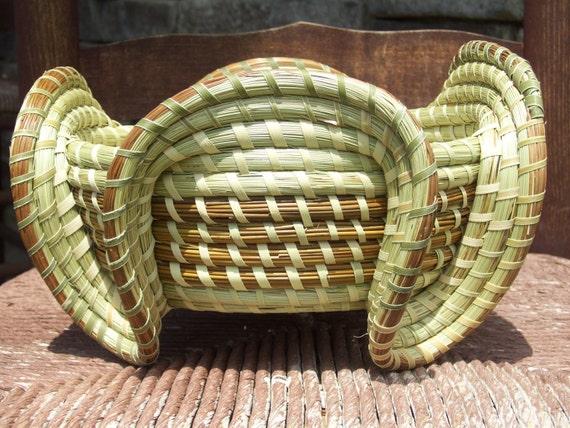 Gullah Sweetgrass Elephant Ear Basket By Sweetgrassbasketry