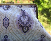 "purple-cotton classic clutch with 8 1/4"" metal frame"